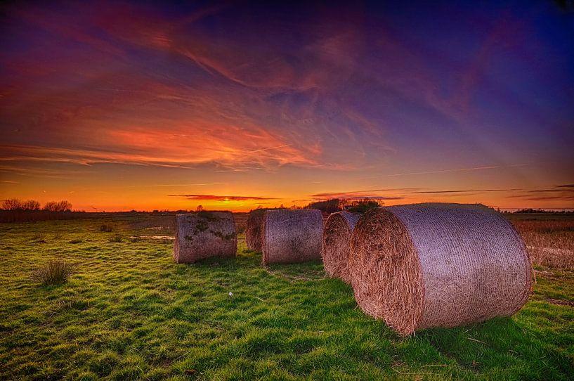 Hooirollen bij zonsondergang van John Leeninga