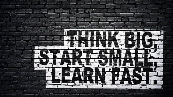 Denk groot, begin klein, leer snel.