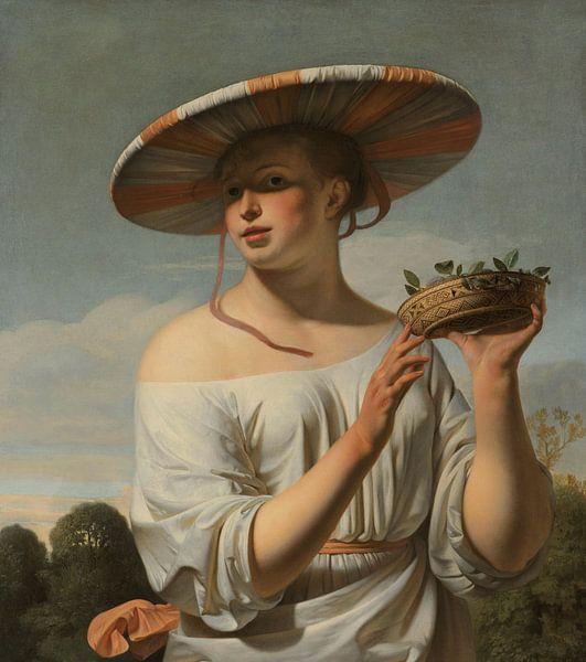 Mädchen mit breitem Hut von Eigenwijze Fotografie