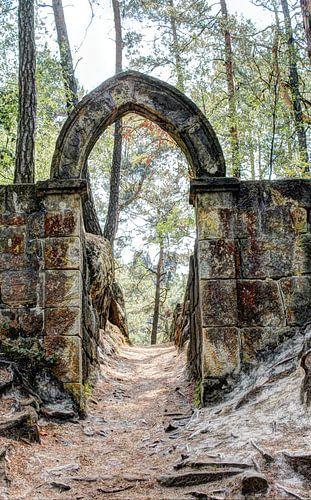 Gotische Boog van Eeuwen stokoud Kasteel