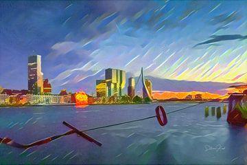 Erasmusbrücke Rotterdam über den Sternenhimmel von Slimme Kunst.nl