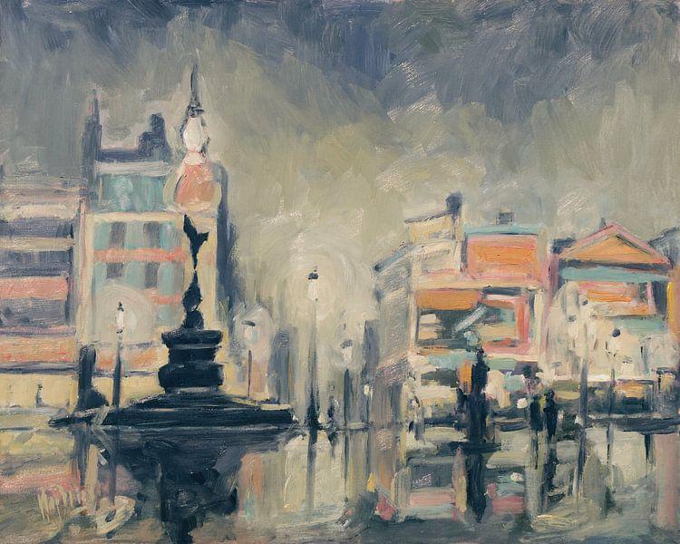Regenachtig Piccadilly Circus 1958 van Nop Briex