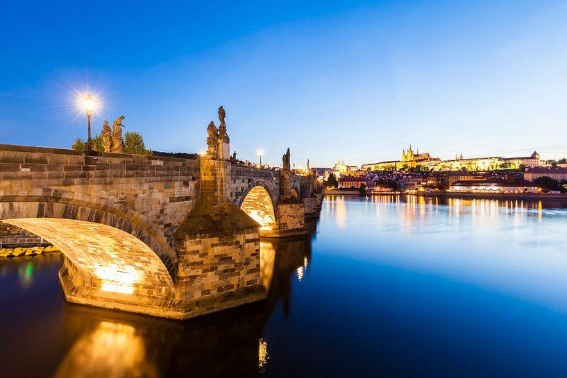 Charles Bridge and Prague Castle in Prague van Werner Dieterich