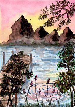 Berge und See von ZeichenbloQ