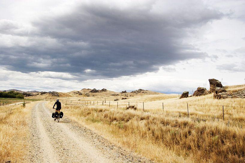 Cyclist on the Otago Central Rail Trail van Eddo Kloosterman