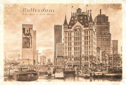 Carte postale d'époque: Maison Blanche et Vieux Port sur