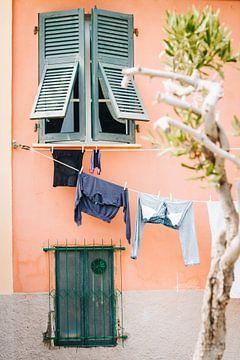 Farbige Häuser mit Wäscherei an der italienischen Amalfiküste, Cinque Terre, Portovenere, Italien von Evelien Lodewijks