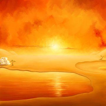 Golden Desert. Expressionisme. van SWColors