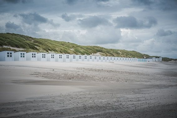Strandhuisjes op strand Texel