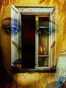 Blue eyes behind the old window
