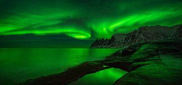 Panorama of aurora over Tugeneset von Wojciech Kruczynski
