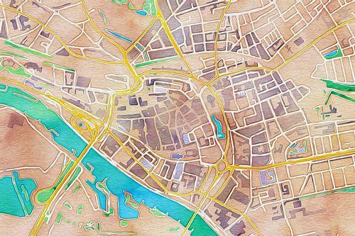 Kleurrijke kaart van Arnhem van