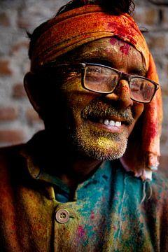 Bezoeker van het Holi festival, india