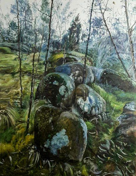 Aarde en de natuur moss landschap van KB Prints