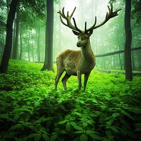 Großer Hirsch im grünen Zauberwald von Oliver Henze