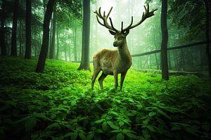 Grand cerf dans la verte forêt enchantée