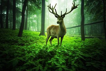 Groot hert in het groene betoverde bos van Oliver Henze