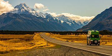 Nieuw-Zeeland Campervan Roadtrip bij Mount Cook, Zuidereiland van Paul van Putten