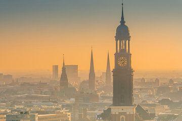 Duitsland, Hamburg, stadscentrum, skyline, Michel, St. Michaelis, kerken van Ingo Boelter