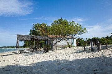 Het strand van het eiland Itaparica, Brazilië. van Kees van Dun