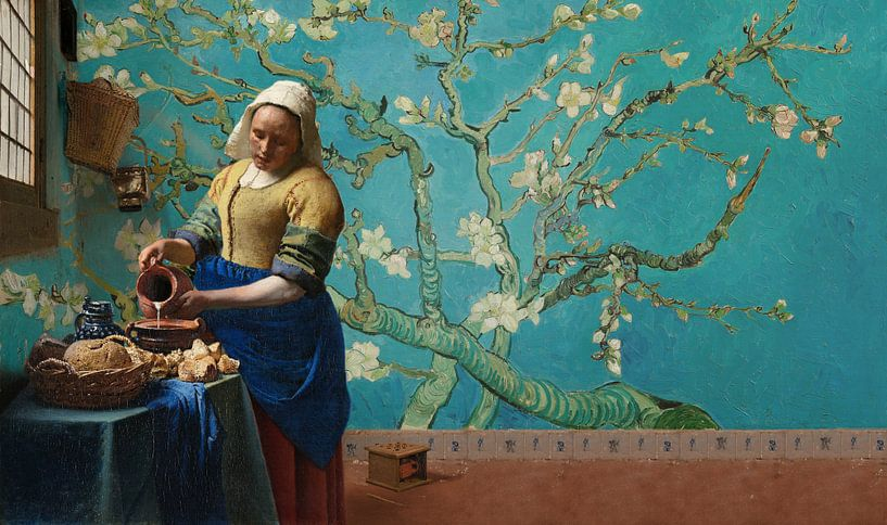 Melkmeisje van Vermeer met Amandel bloesem behang van Van Gogh van Lia Morcus