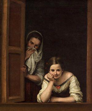 Twee vrouwen bij een raam, Bartolomé Esteban Murillo... van