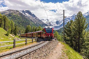 Bernina Express voor de Morteratschgletsjer in Zwitserland van Werner Dieterich