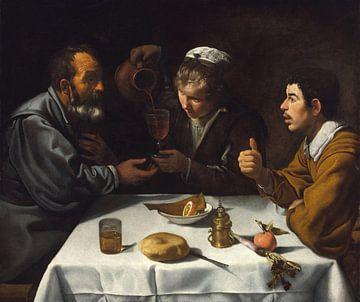 Tavernenszene mit zwei Männern und einem Mädchen, Diego Velázquez