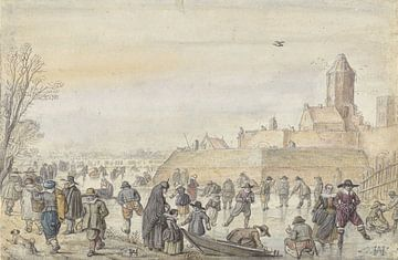Eis am Stadtkanal am Kalverhekkenpoort in Kampen, Hendrick Avercamp, 1595 - 1616