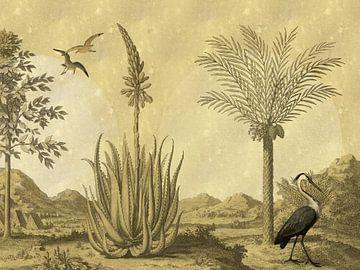 Reiher und Möwen auf botanischem Hintergrund von Jadzia Klimkiewicz