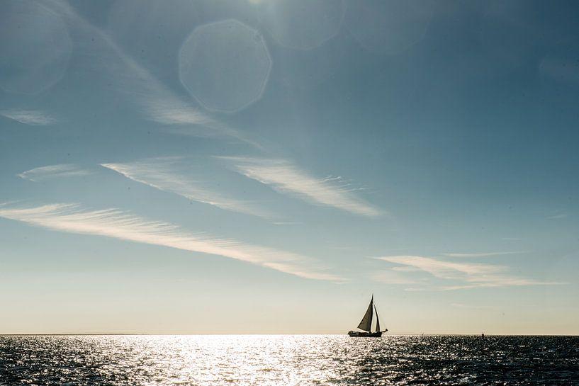 Eenzame zeilboot aan de horizon van Barbara Koppe