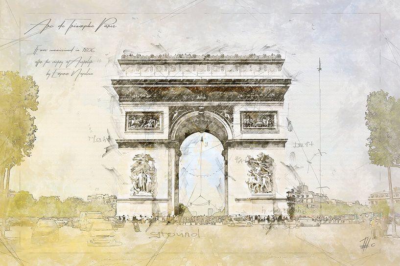Arc de Triomphe, Parijs van Theodor Decker