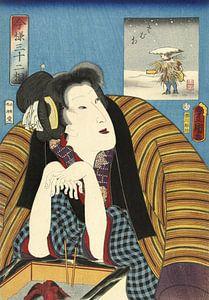 Vrouw, de handen warmend bij een hibachi, Kunisada (I) , Utagawa