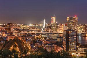 Stadsbeeld van Rotterdam bij nacht van de Euromast met de Erasmusbrug op de achtergrond