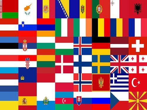 Vlaggen van Europa 1: gerangschikt