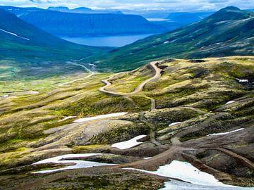 Bergweg naar het fjord, IJsland van