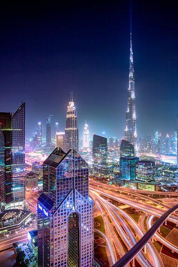 Burj Khalifa verlicht de hemel van Rene Siebring