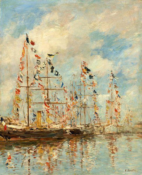 Jacht haven in Trouville, Deauville, Eugène Boudin