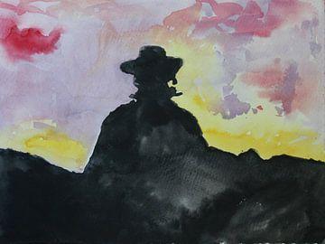 Zorro, aquarel van een het silhouet van een man in een zwarte cape van Catharina Mastenbroek
