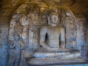 Zittende Boeddha, de Gal vihara, Sri Lanka