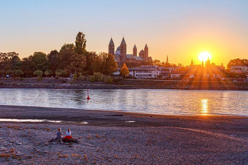 Sonnenuntergang am Rhein bei Speyer von Uwe Ulrich Grün