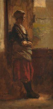 Meisje bij een deuropening., Jacob Maris sur