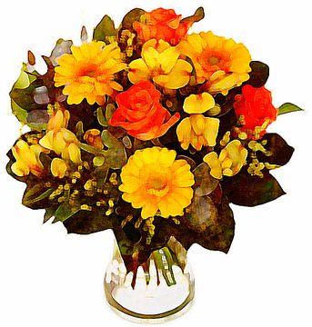 Bloemen aquarel (2) van PictureWork - Digital artist