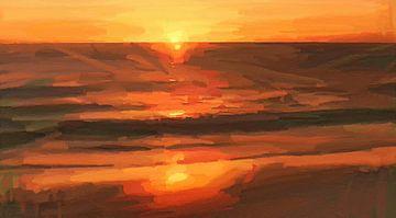 Oranje Zonsondergang - Kust -Stand - Horizon - Zonsopkomst - Abstract Schilderij