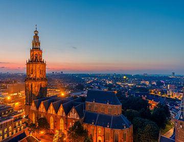 Zonsondergang in het centrum van Groningen