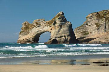 Wharariki Beach, Golden Bay, Zuid-Eiland, Nieuw-Zeeland van Markus Lange