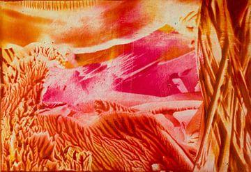 Encaustic Art rood geel oranje roze wit