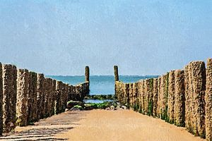 Palenrij op het strand van Westkapelle (schilderij) van