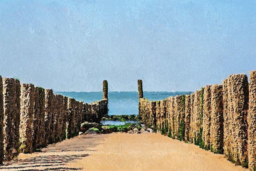 Palenrij op het strand van Westkapelle (schilderij) van Art by Jeronimo
