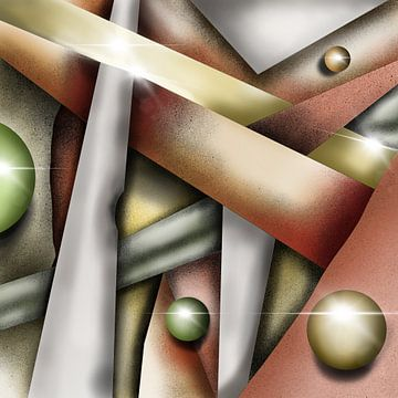 Moderne kunst - Steampunk met gouden ballen van Patricia Piotrak